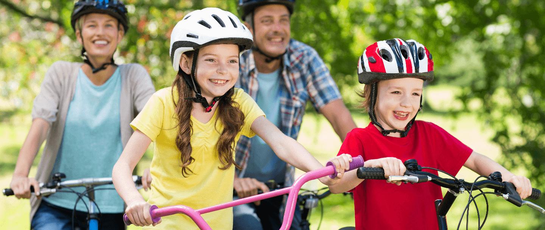 kids biking on trail