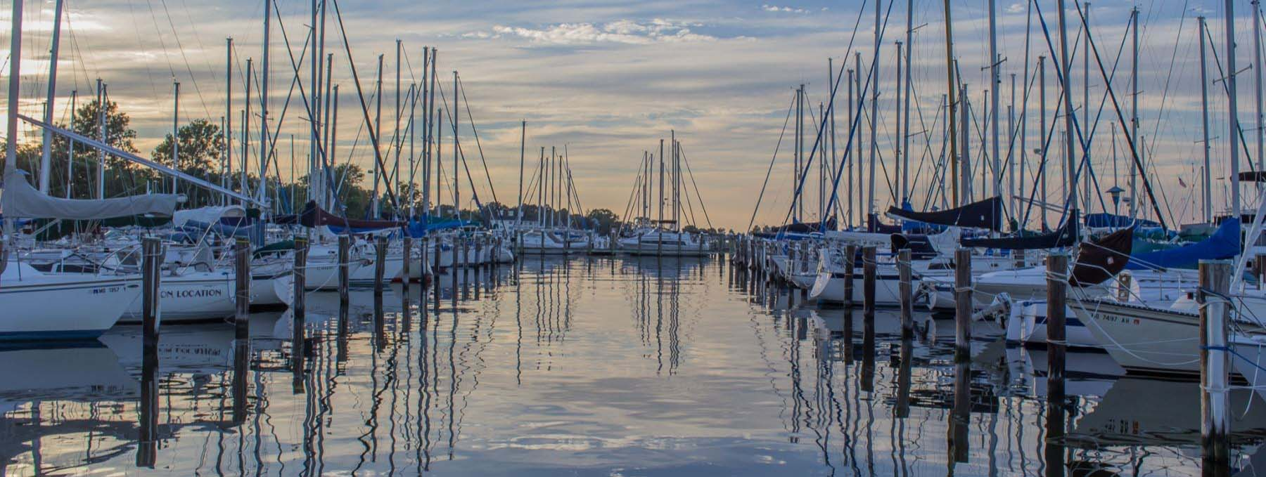 row of boats in a marina at sunset