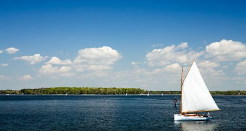A sailboat in St. Michaels during the best time to visit the Eastern Shore of Maryland