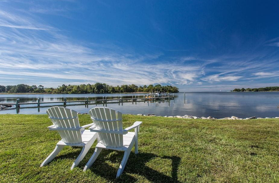 chairs by the water in Eastern Shore MD